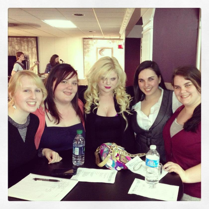 Taylor Hicks, Elizabeth Furrey, Darby Riales, Allison Brass, and Sarah F. Wilson at a Vortex event Winter 2013.