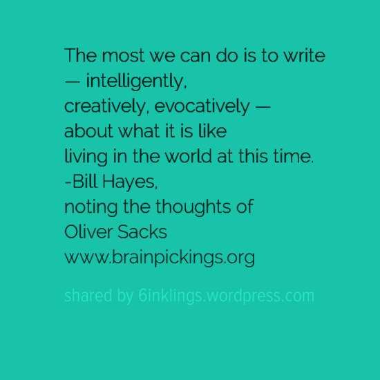 The most we can do is to write — intelligently, creatively, evocatively — about what it is like living in the world at this time.