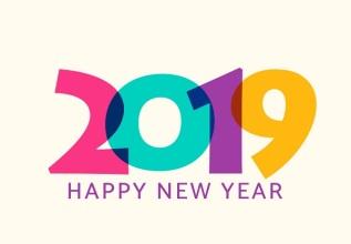 2019 happy new year vector. Geometric calendar design.