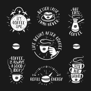 Hand drawn doodle style coffee posters set. Hand crafted design elements for prints, wall decoration advertising. Coffee shop labels collection. Quotes about coffee. Vintage vector illustration.