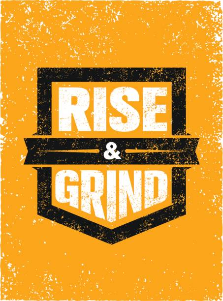 Rise And Grind. Workout and Fitness Sport Motivation Quote. Creative Vector Typography Strong Banner Concept.